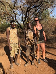 Bushmen and Tamara with the mornings food!